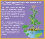 The Food Sovereignty Summit's logo = Three Sisters philosophy.